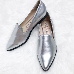 Sole Society Bela Silver Metallic Pointed Loafer 6